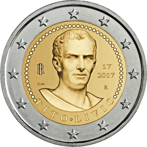 Италия 2 евро 2017 г. 2000 лет со дня смерти Тита Ливия