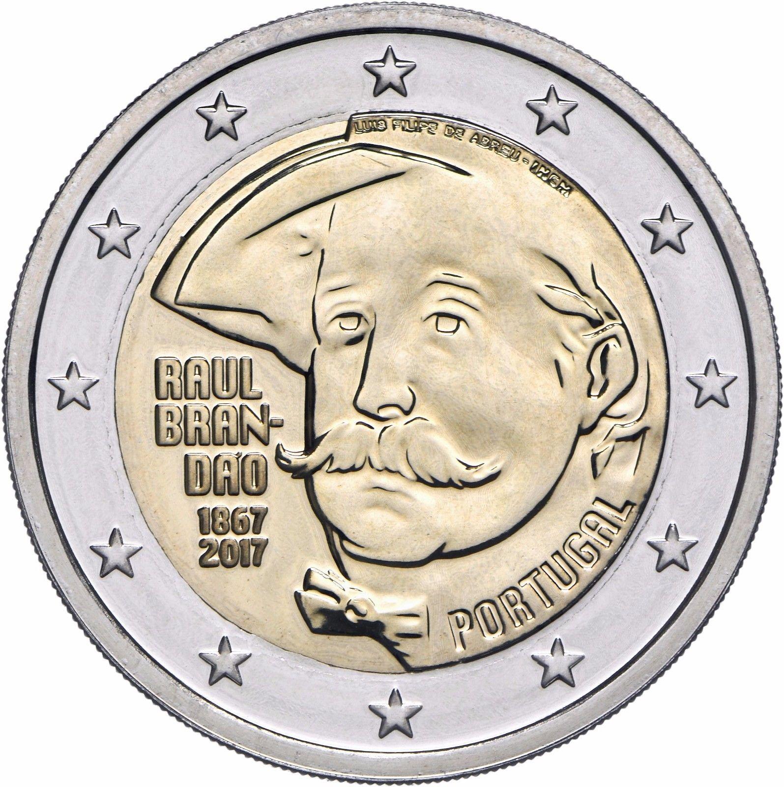 Португалия 2 евро 2017 г. 150 лет со дня рождения писателя Раула Брандана
