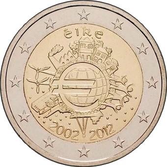 Ирландия 2 евро 2012 г.     10 лет наличному евро