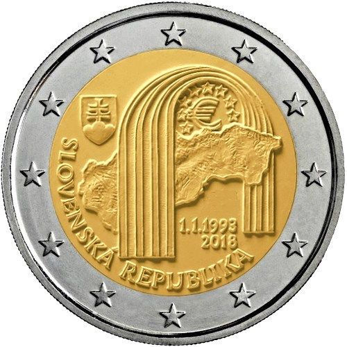 Словакия 2 евро 2018 г. 25-я годовщина Словацкой Республики