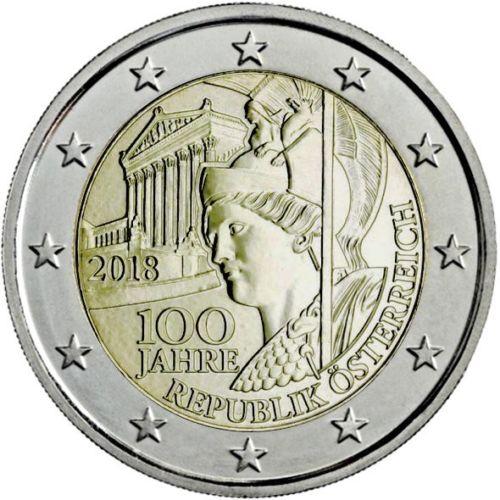 Австрия 2 евро 2018 г. 100 лет Австрийской Республике