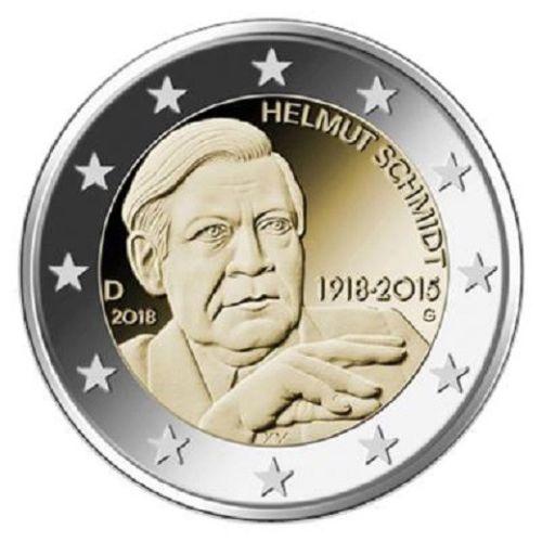 Германия 2 евро 2018 г.  100 лет со дня рождения  Гельмута Шмидта