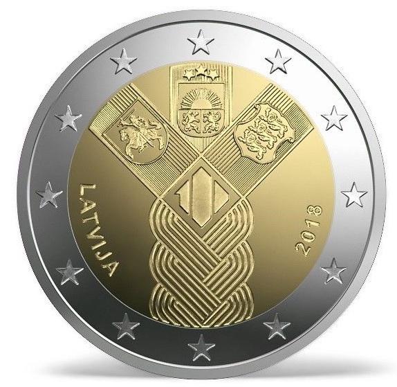 Латвия 2 евро 2018 г. 100-летие независимости прибалтийских государств
