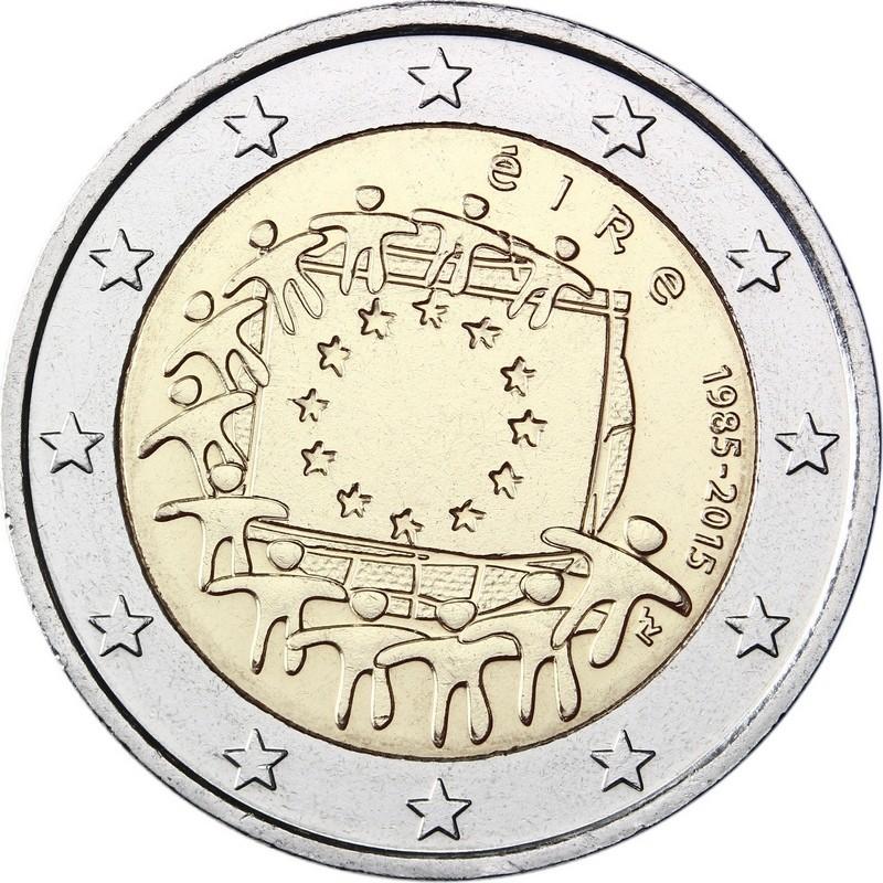 Ирландия 2 евро 2015 г.  30 лет флагу Еврозоюза