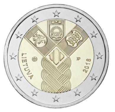 Литва 2 евро 2018 г. 100-летие независимости прибалтийских государств