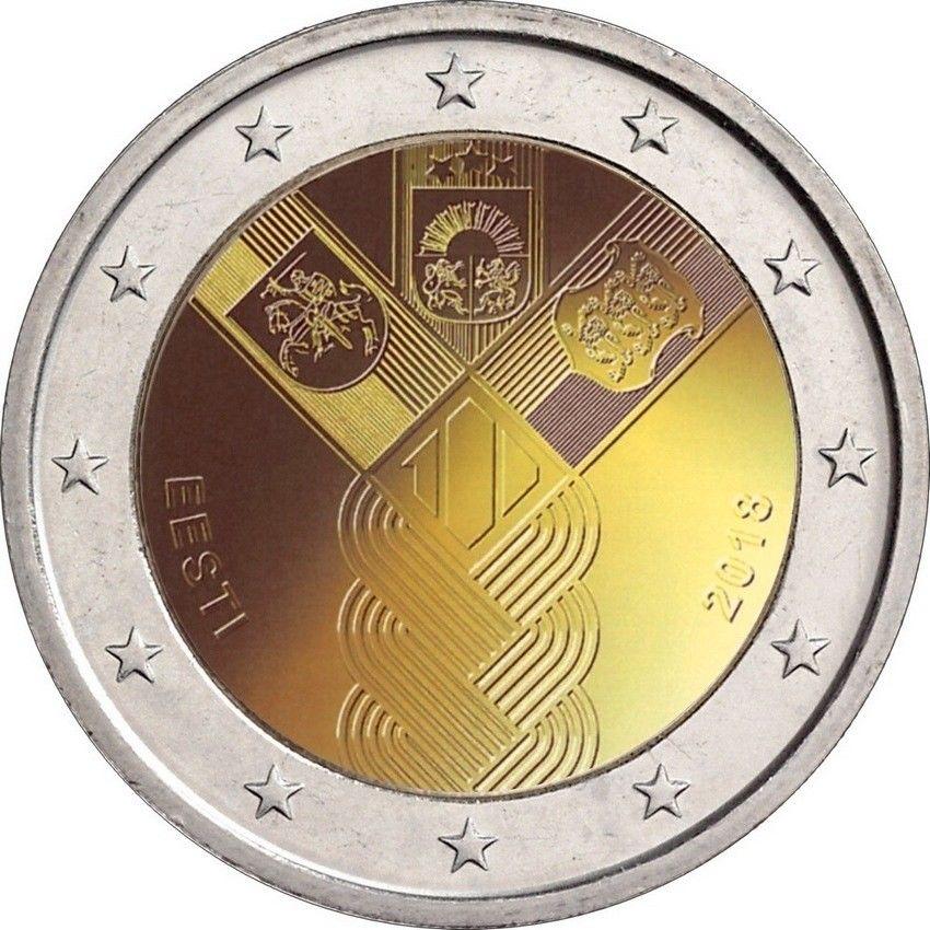 Эстония  2 евро 2018 г. 100-летие независимости прибалтийских государств