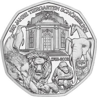 Австрия 5 евро 2002 г. 250 лет зоопарку Шёнбрунн