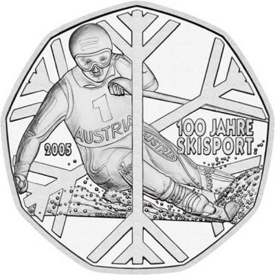 Австрия 5 евро 2005 г. 100 лет лыжному спорту