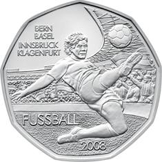 Австрия 5 евро 2008 г. Футбол