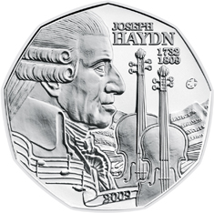 Австрия 5 евро 2009 г. 200-летняя годовщина со дня смерти Йозефа Гайдна