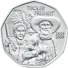 Австрия 5 евро 2009 г. Тирольское сопротивление 1809 г.