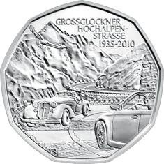 Австрия 5 евро 2010 г. 75-летие альпийской дороги Грослокнер