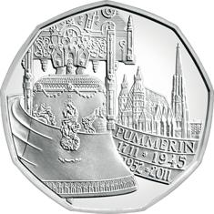 Австрия 5 евро 2011 г. 300-летие колокола Пуммерин