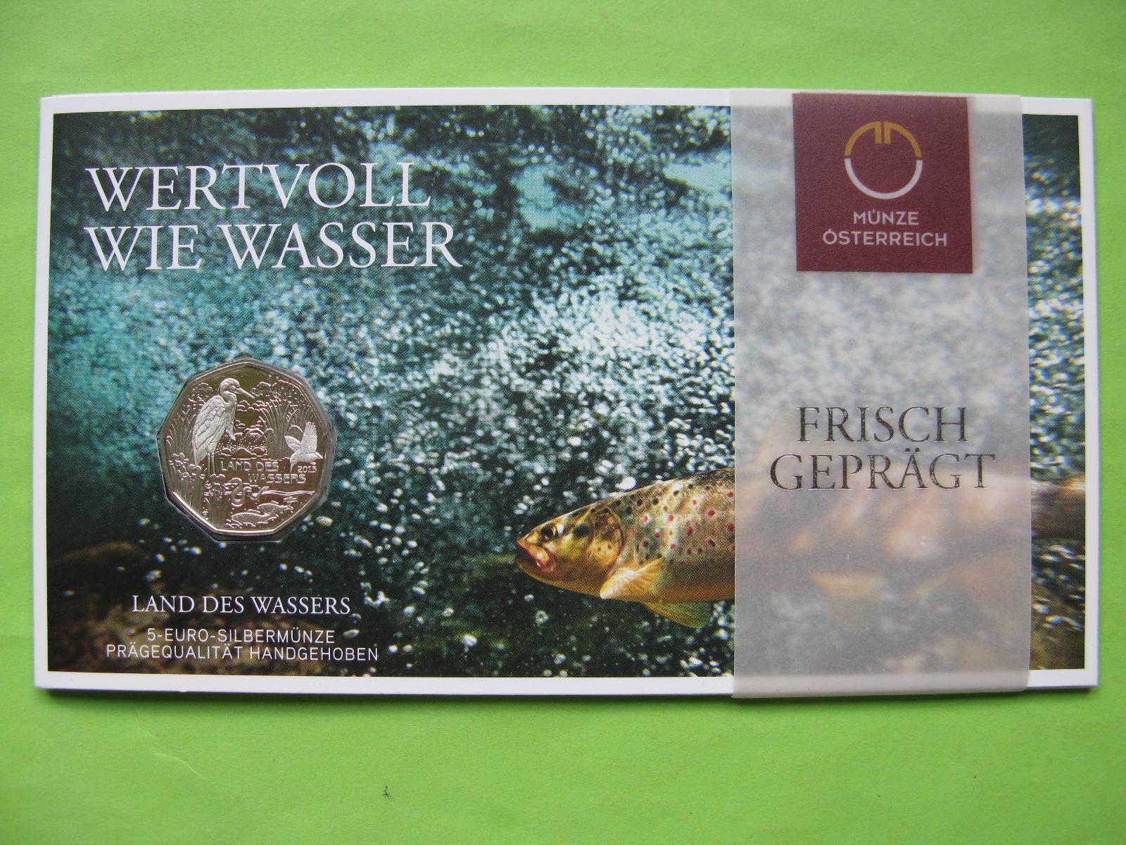 Австрия 5 евро 2013 г. Страна воды