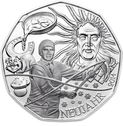 Австрия 5 евро 2014 г. Новый год (серебро)