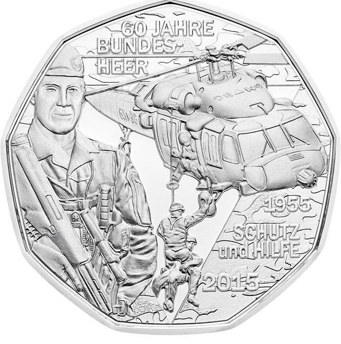 Австрия 5 евро 2015 г. Вооруженные силы (серебро)