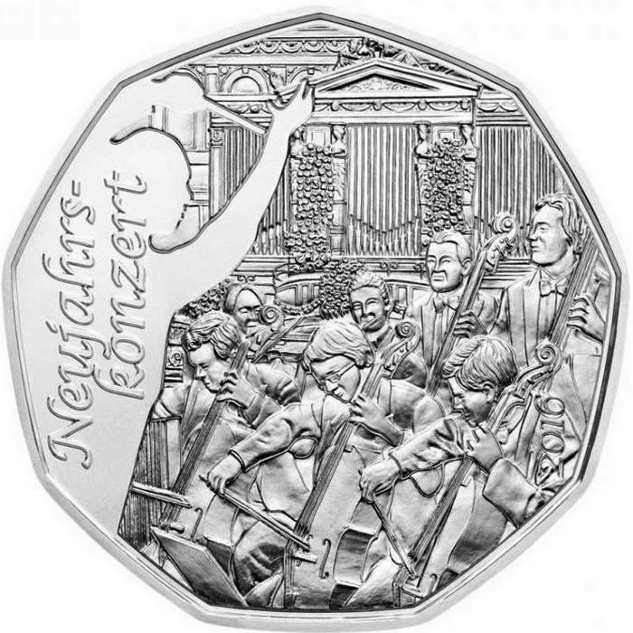 Австрия 5 евро 2015 г. Новогодний концерт(серебро)