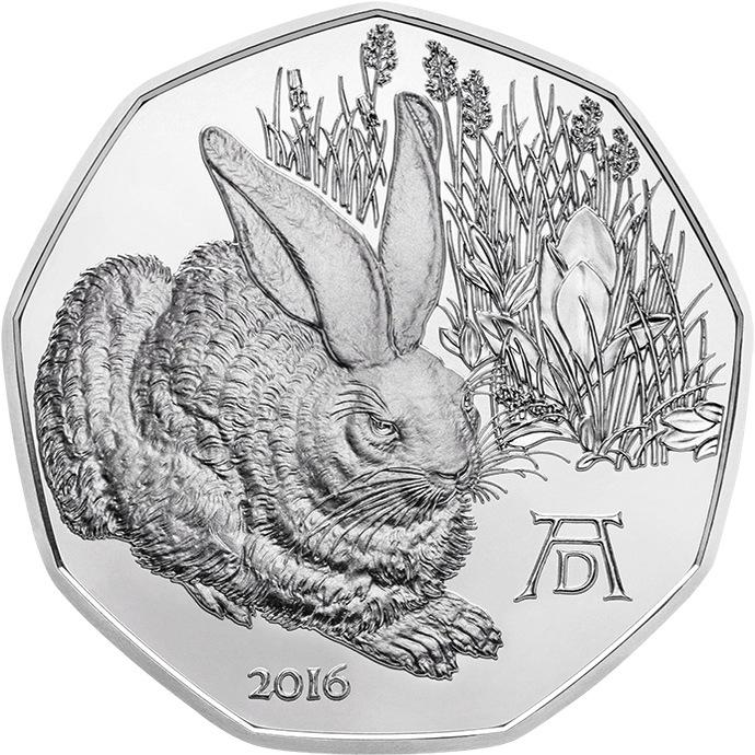 """5 евро Австрия 2016 г.Рисунок Альбрехта Дюрера """"Заяц"""""""