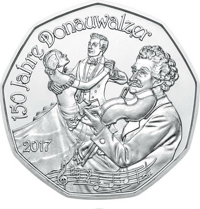 Австрия 5 евро 2016 г. Дунайский вальс (серебро)