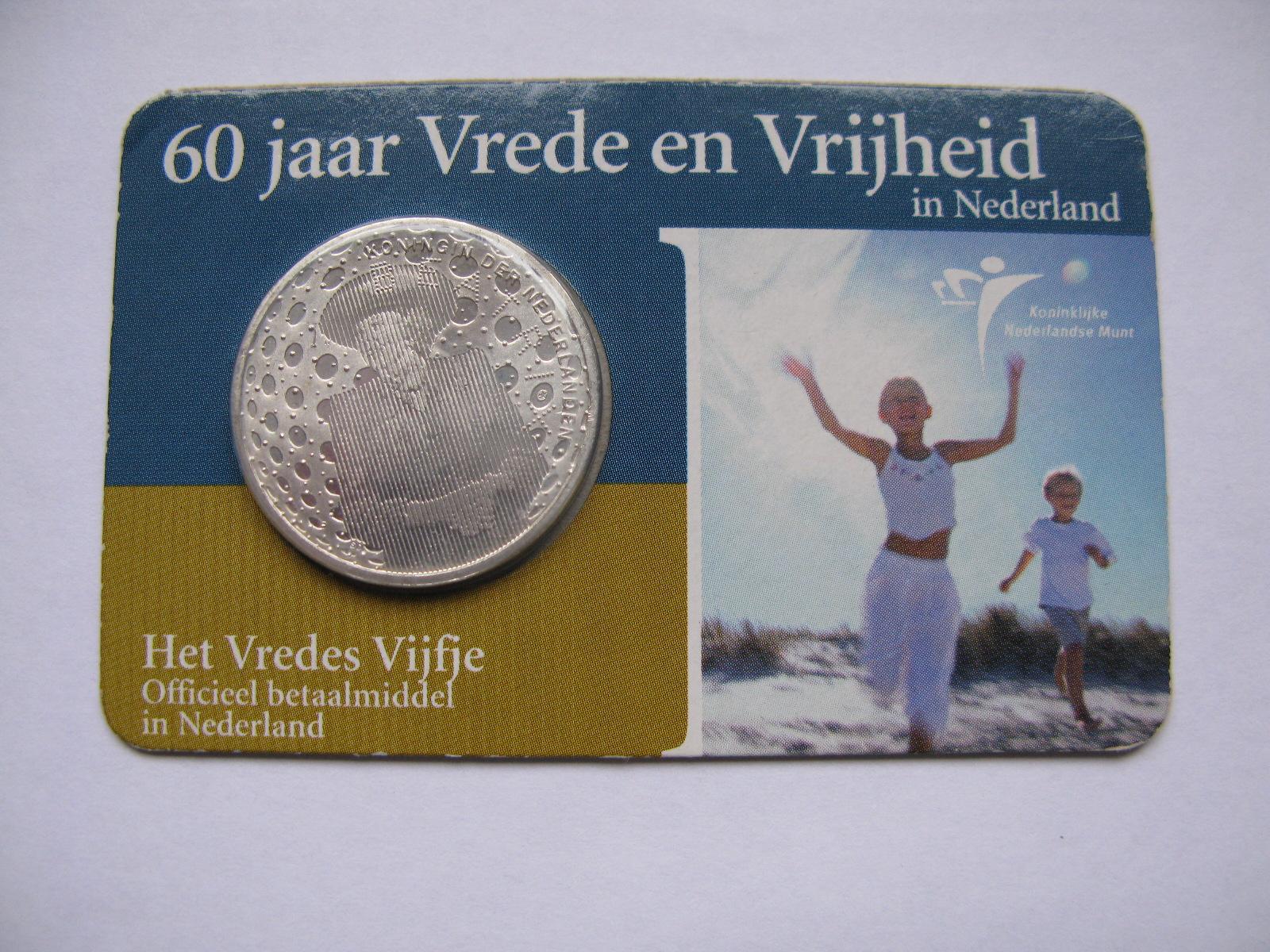 Нидерланды 5 евро 2005 г. 60 лет миру и свободы