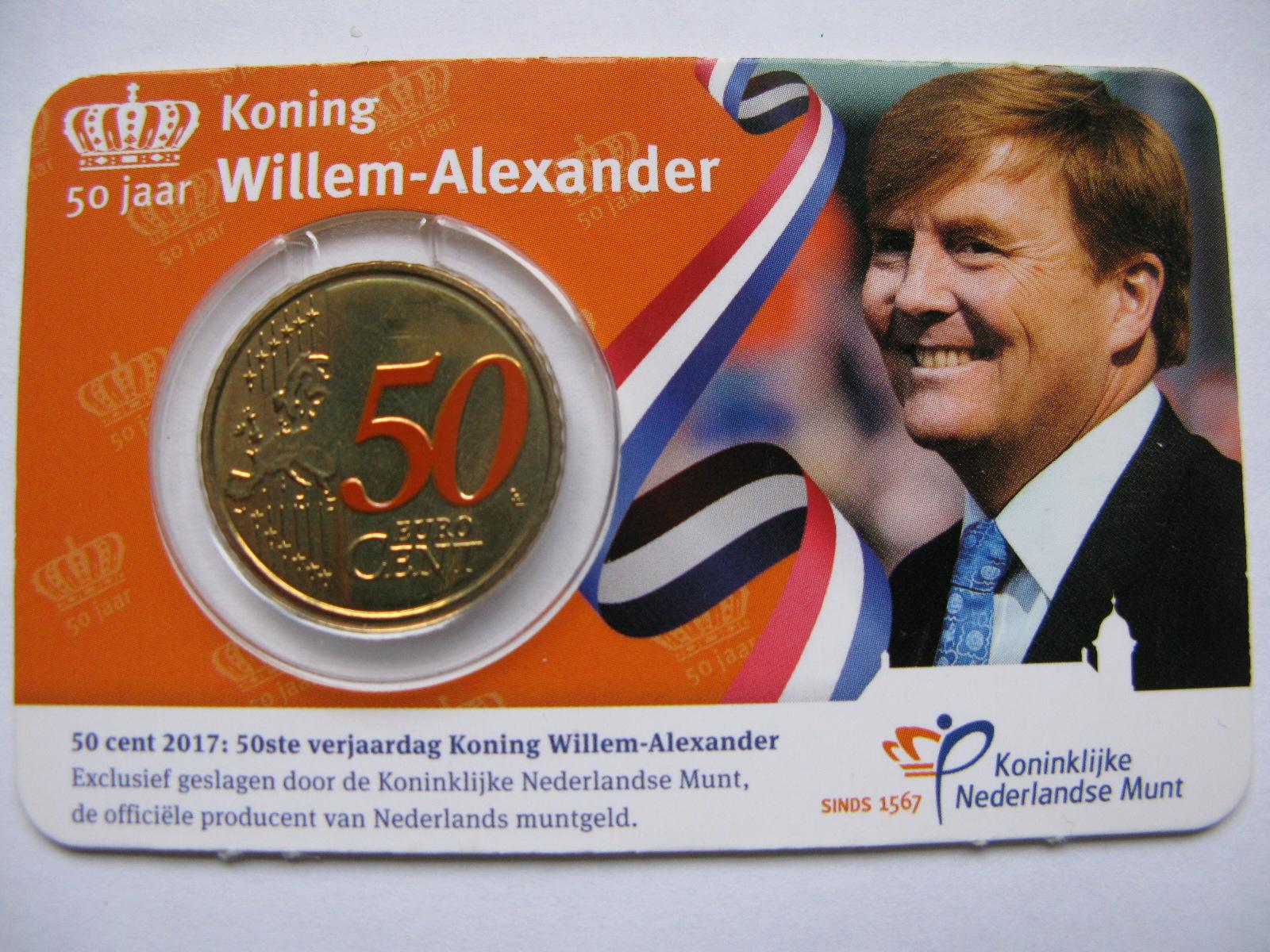 Нидерланды 50 евро центов 2017 г. в карточке.