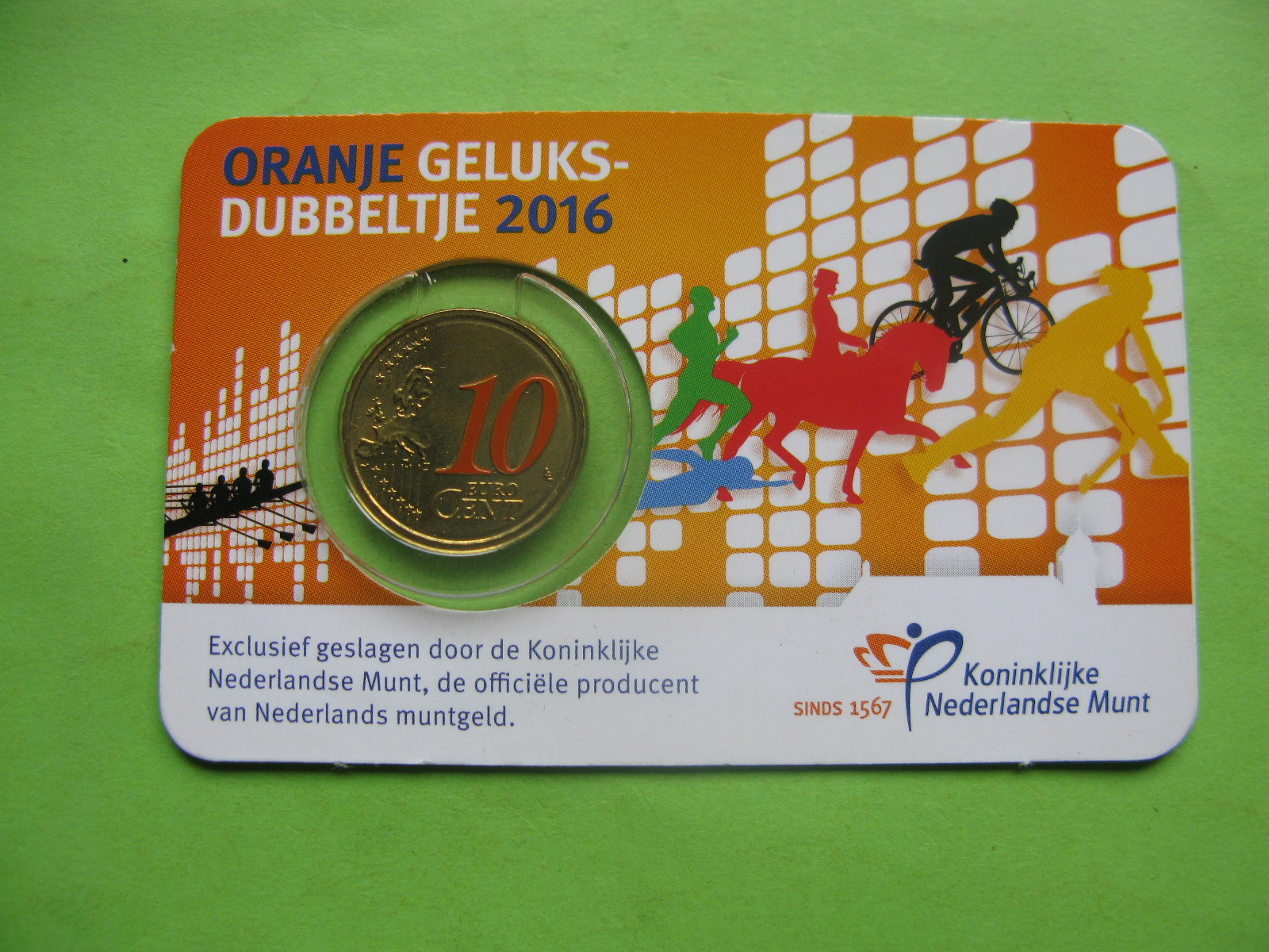 Нидерланды 10 евро центов 2016 г. в карточке.