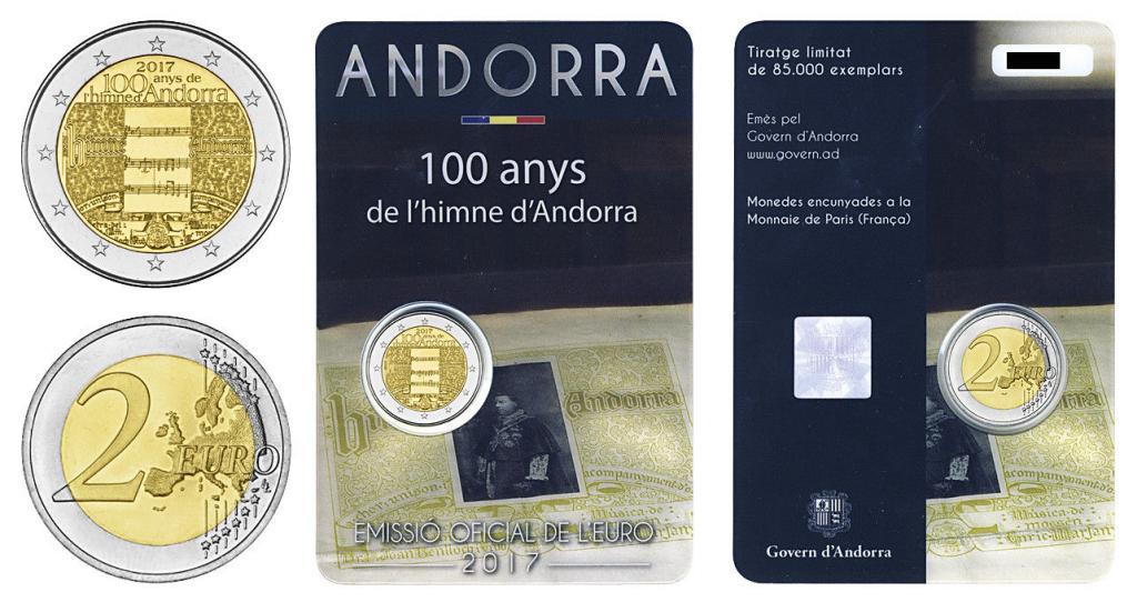 Андорра 2 евро 2017 г. 100-летие гимна Андорры