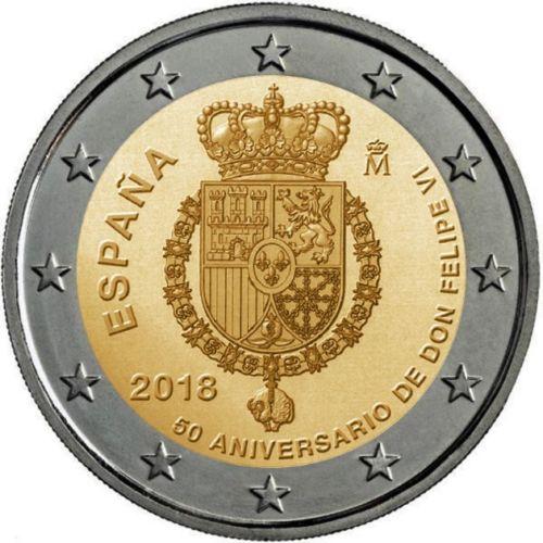Испания 2 евро 2018 г. 50 лет со дня рождения короля Филиппа VI