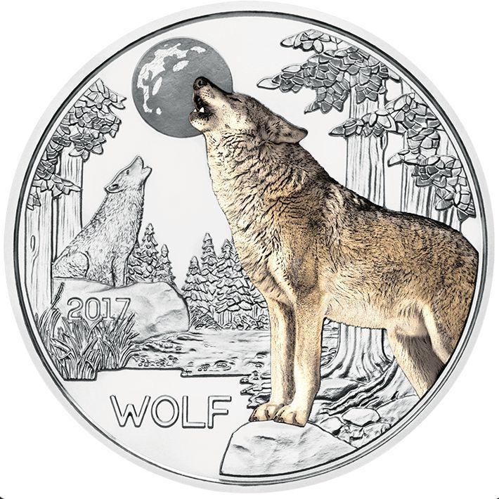 Австрия 3 евро 2017 г. Волк