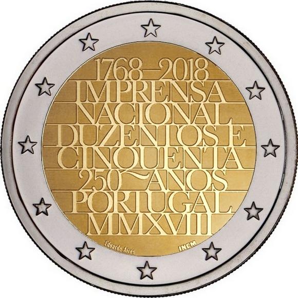 Португалия 2 евро 2018 г. 250-летие Imprensa Nacional