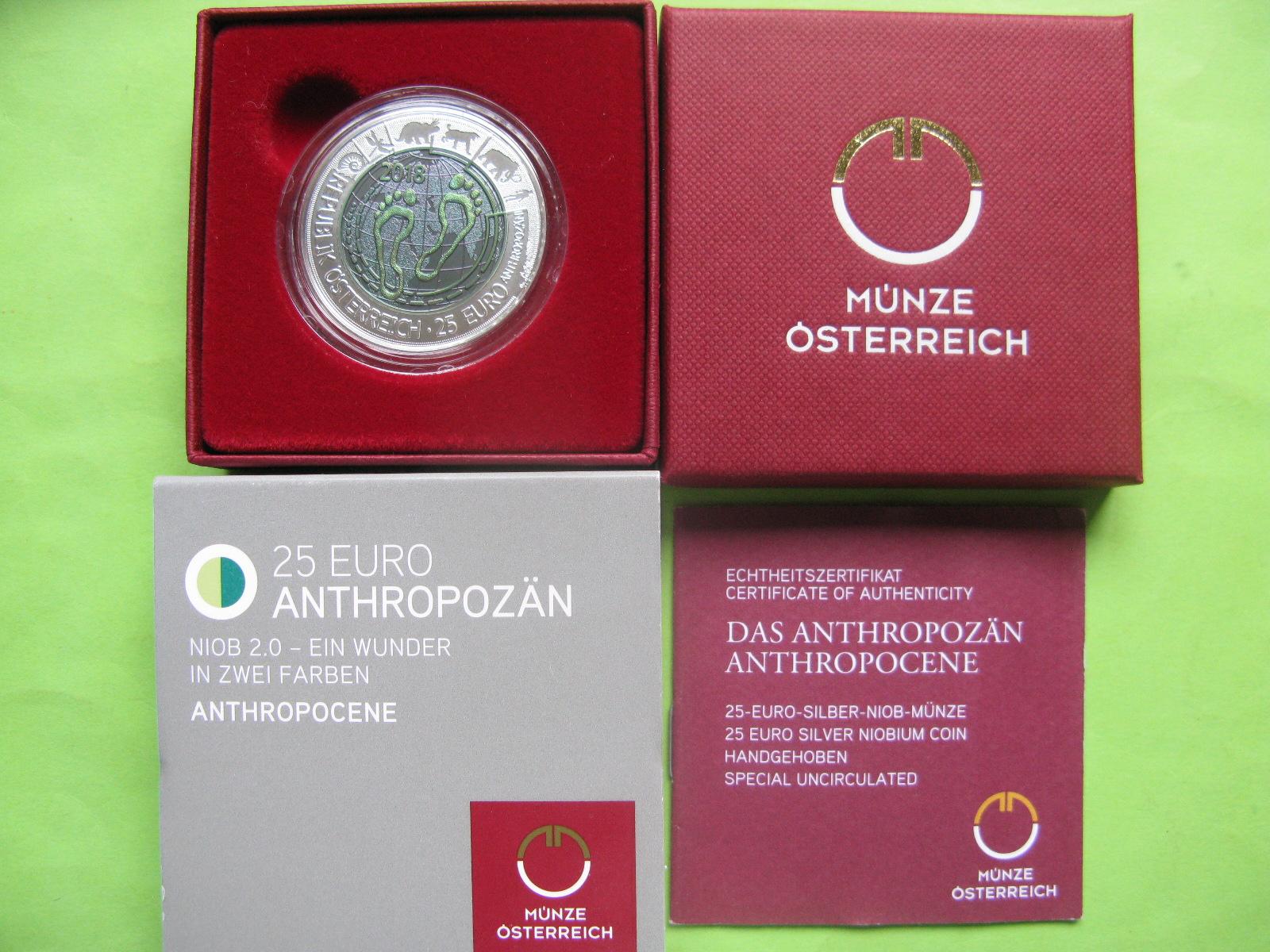 Австрия 25 евро 2018 г. Антропоцен