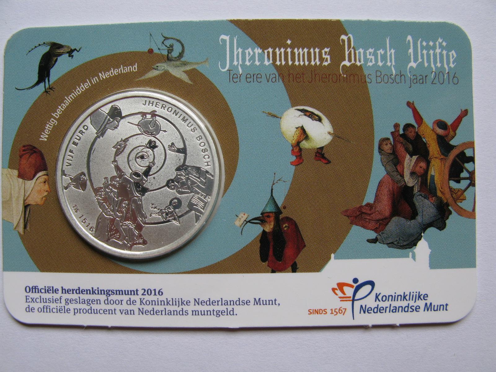 Нидерланды 5 евро 2016 г. Иероним Босх