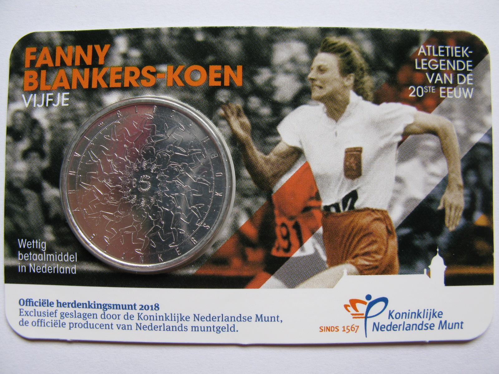 Нидерланды 5 евро 2018 г. Фанни Бланкерс-Кун