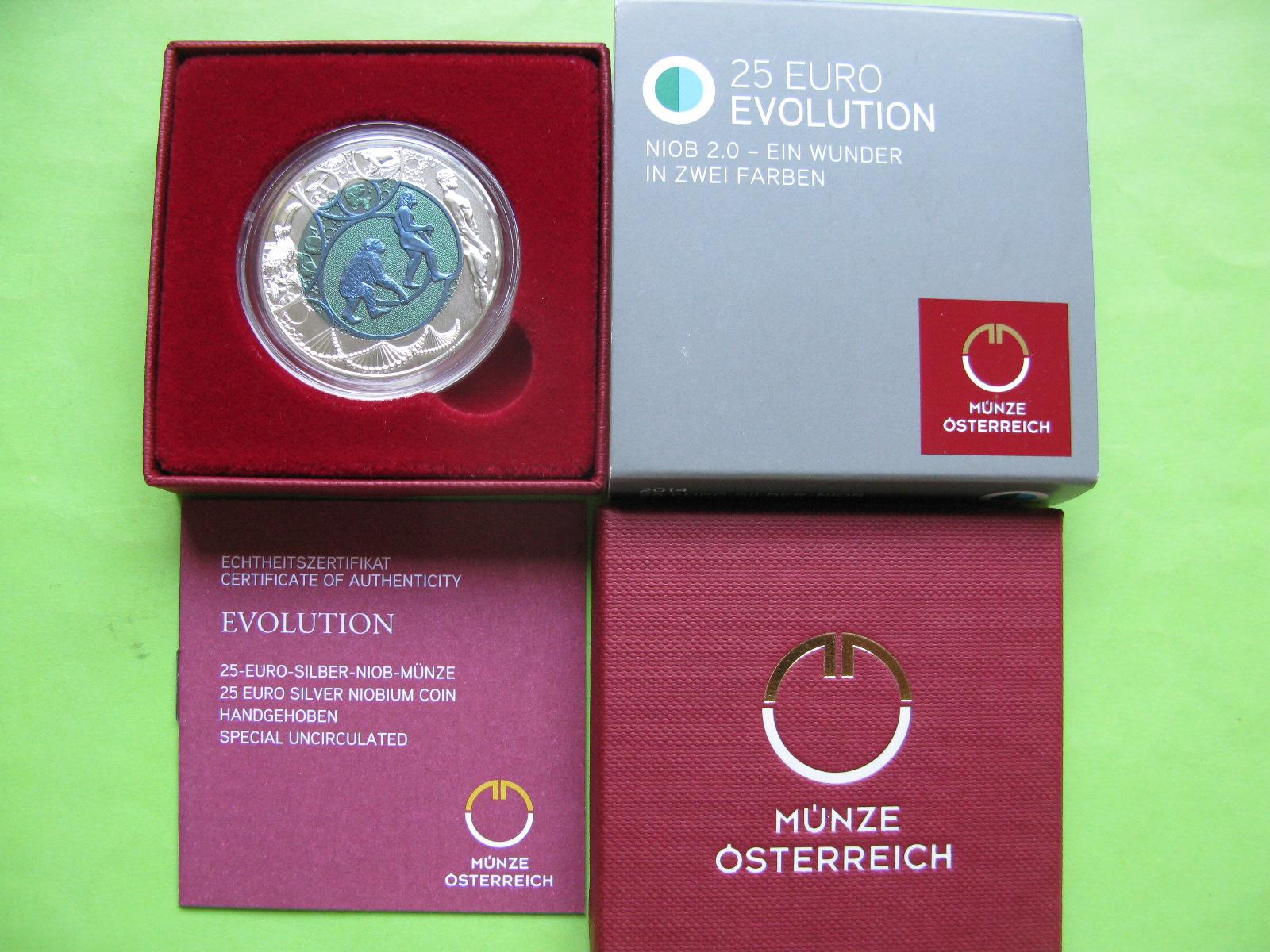 Австрия 25 евро 2014 г. Эволюция