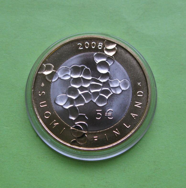 Финляндия 5 евро 2008 г. 100 лет финской науке и исследованиям