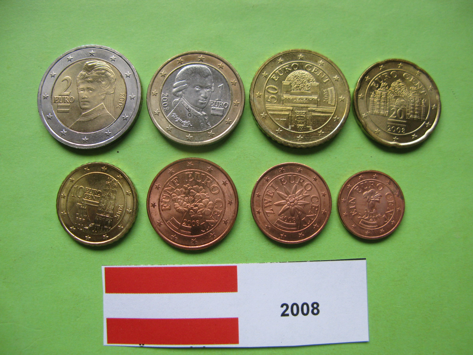 Австрия набор евро 2008    UNC