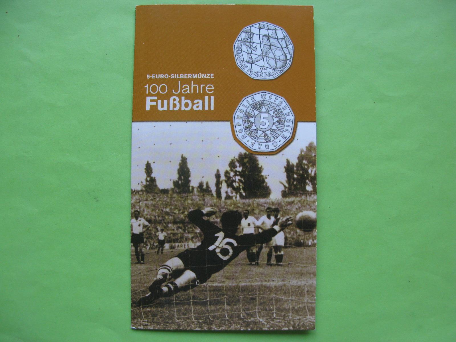 Австрия 5 евро 2004 г. 100 лет футболу