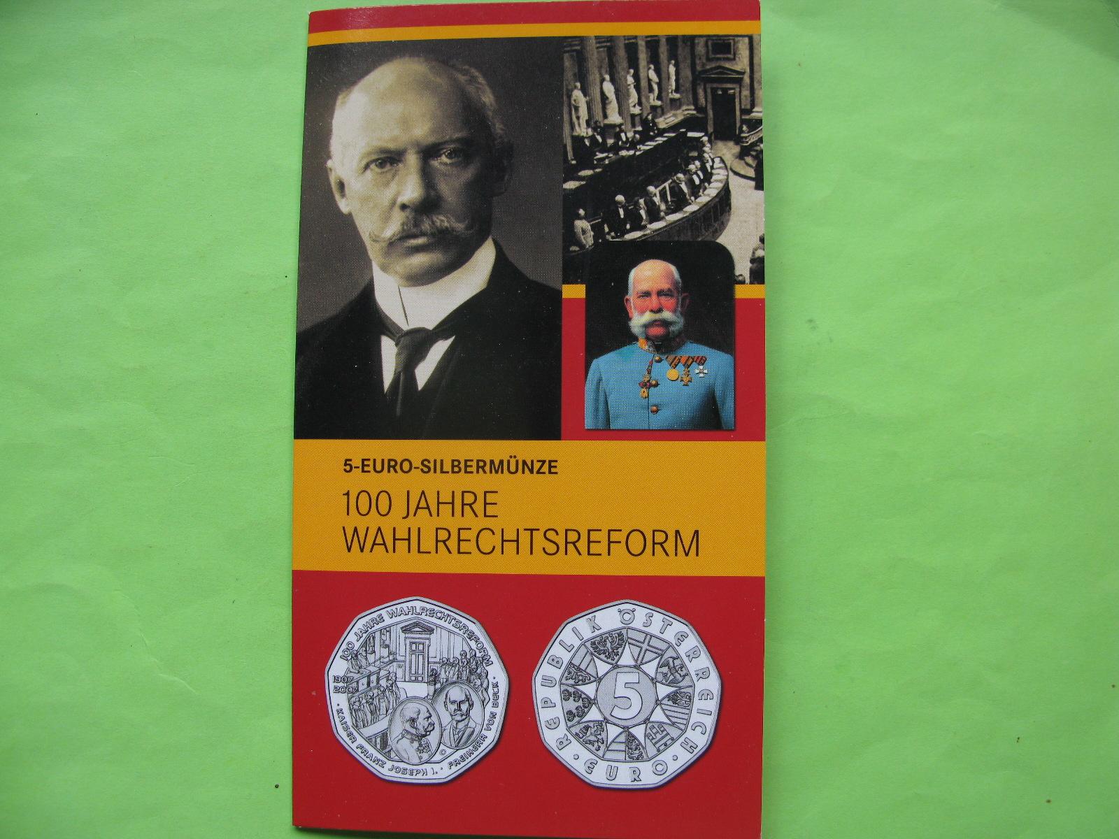 Австрия 5 евро 2007 г. 100 лет Всеобщему избирательному праву