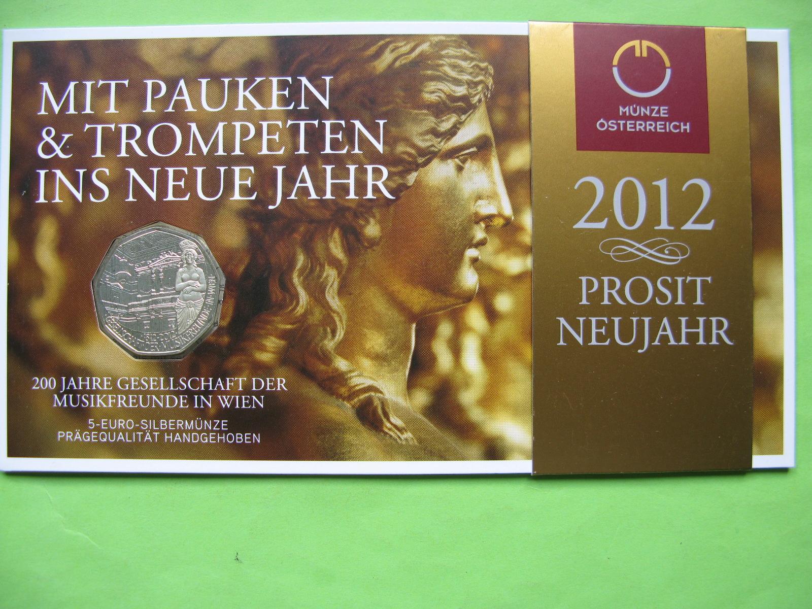 Австрия 5 евро 2012 г. 200-летие Общества любителей музыки в Вене