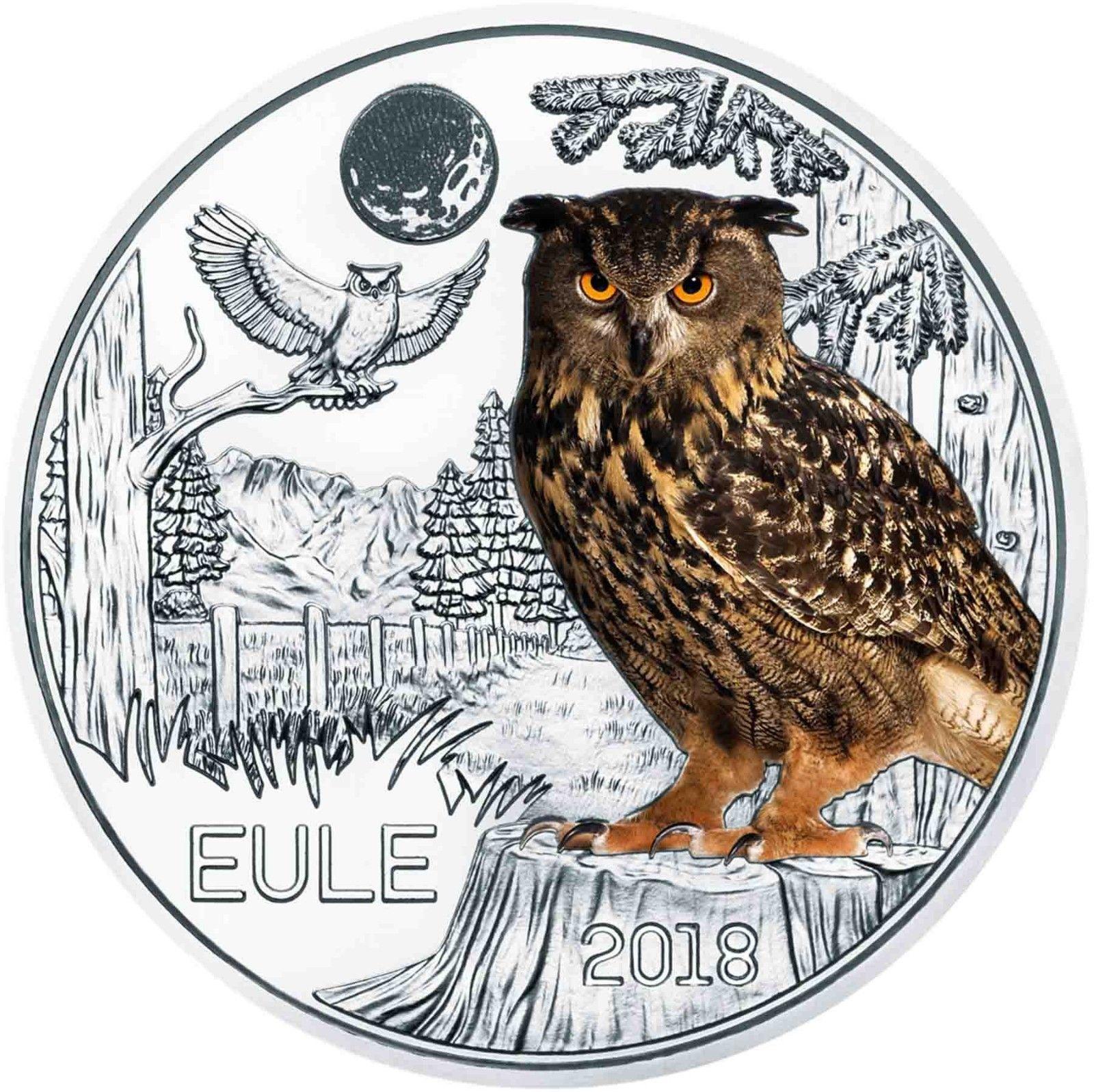 Австрия 3 евро 2018 г. Сова