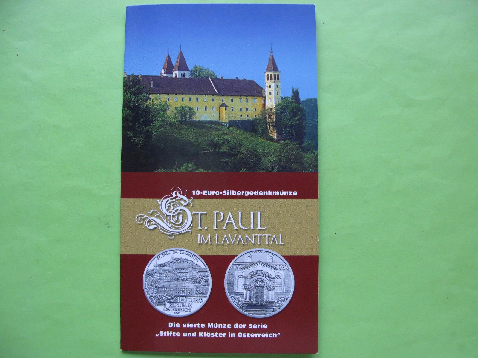 Австрия 10 евро 2007 г. Аббатство Святого Пауля в городе Лаванталь