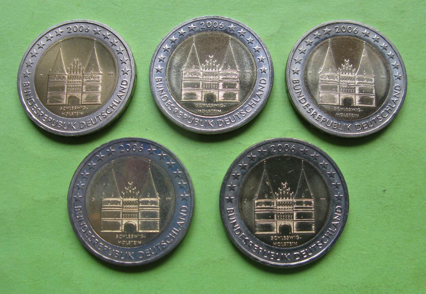 Германия 2 евро 2006 г. Шлезвиг-Гольштейн .5 монет (A,D,F,G,J) ,UNC