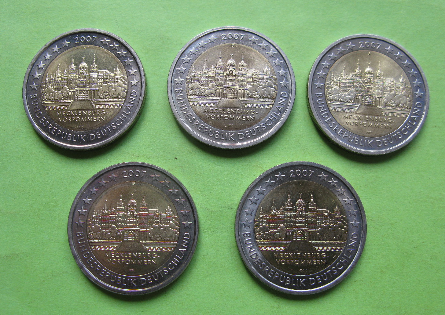 Германия 2 евро 2007 г. Мекленбург-Передняя Померания ( A,D,F,G,J ) , UNC