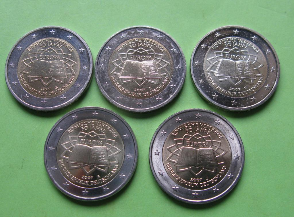 Германия 2 евро 2007 г. Римский договор (A,D,F,G,J ), UNC