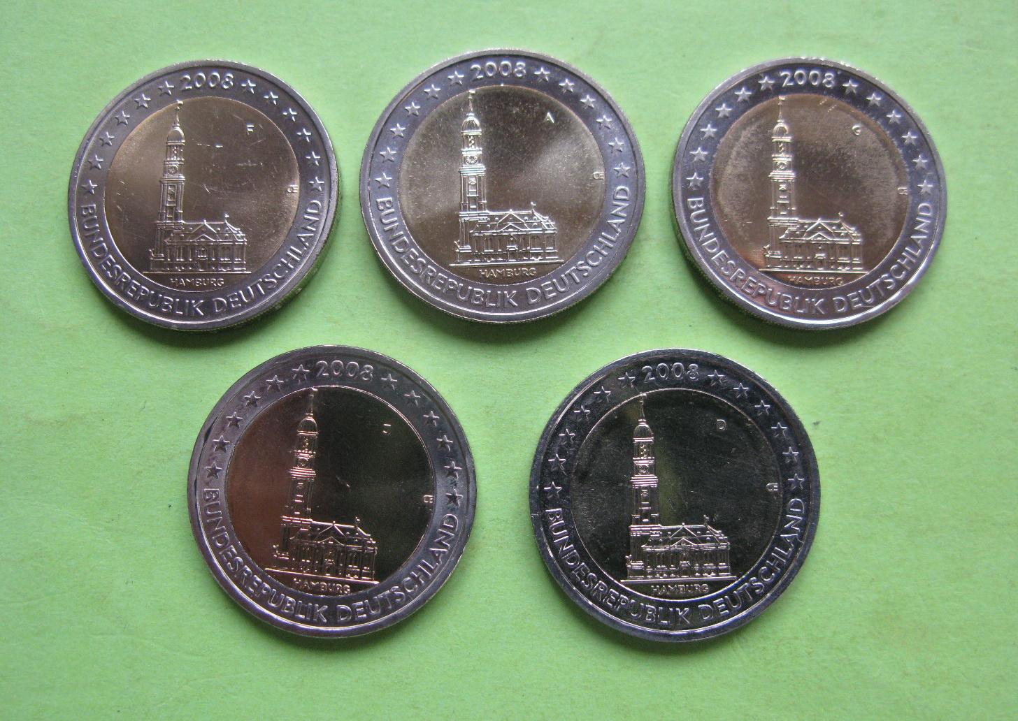 Германия 2 евро 2008 г. Гамбург (A,D,F,G.J) , UNC