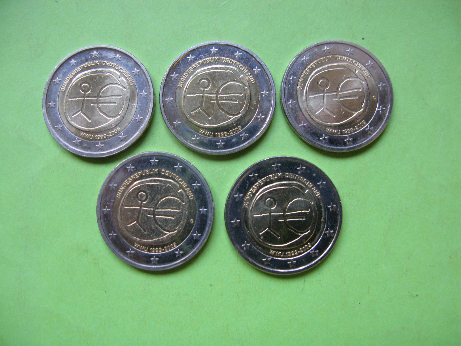 Германия  2 евро 2009 г.  10 лет экономическому союзу. A,D,F,G,J . UNC