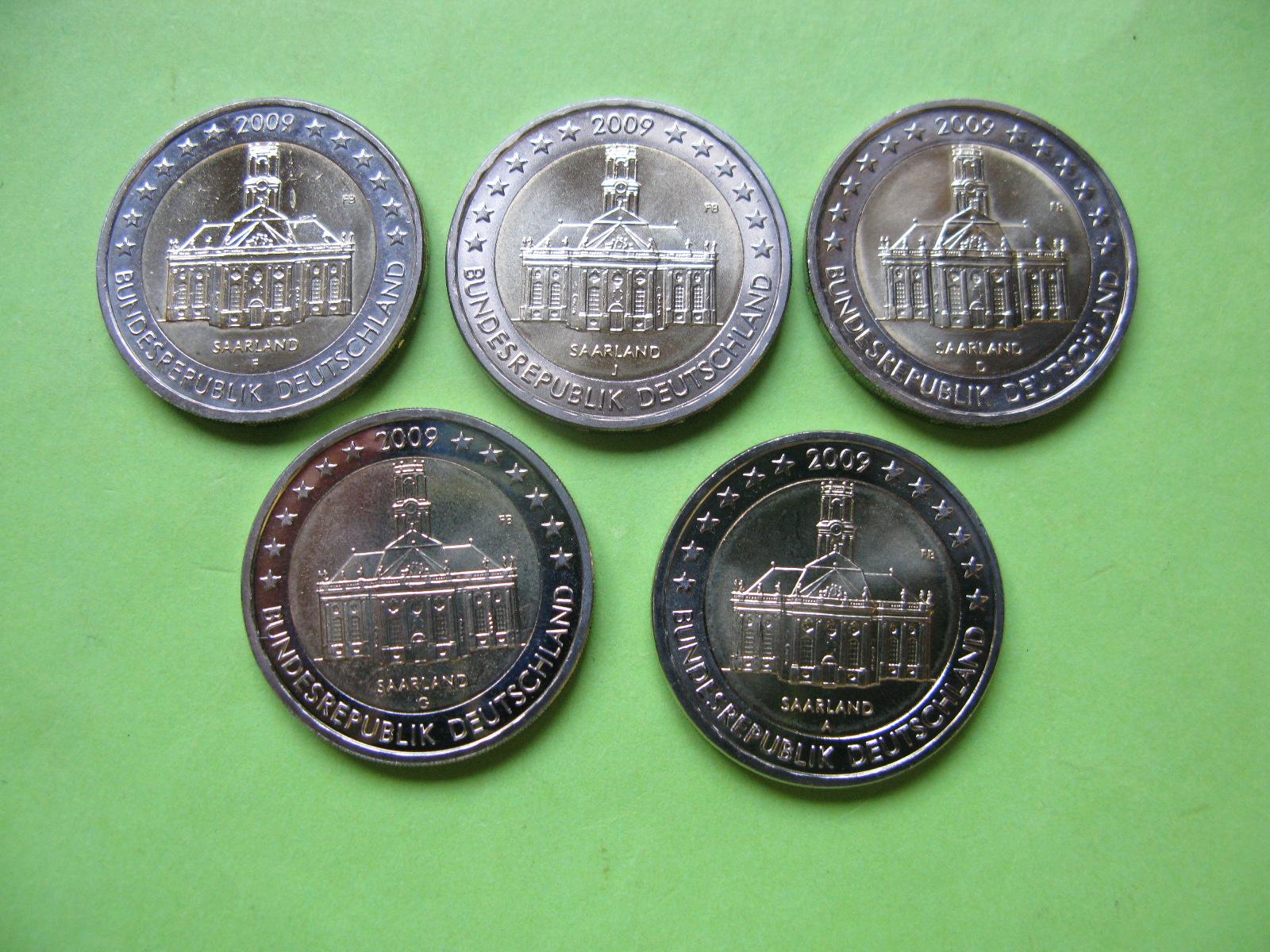 Германия 2 евро 2009 г. Саар (A,D,F,G,J ) , UNC