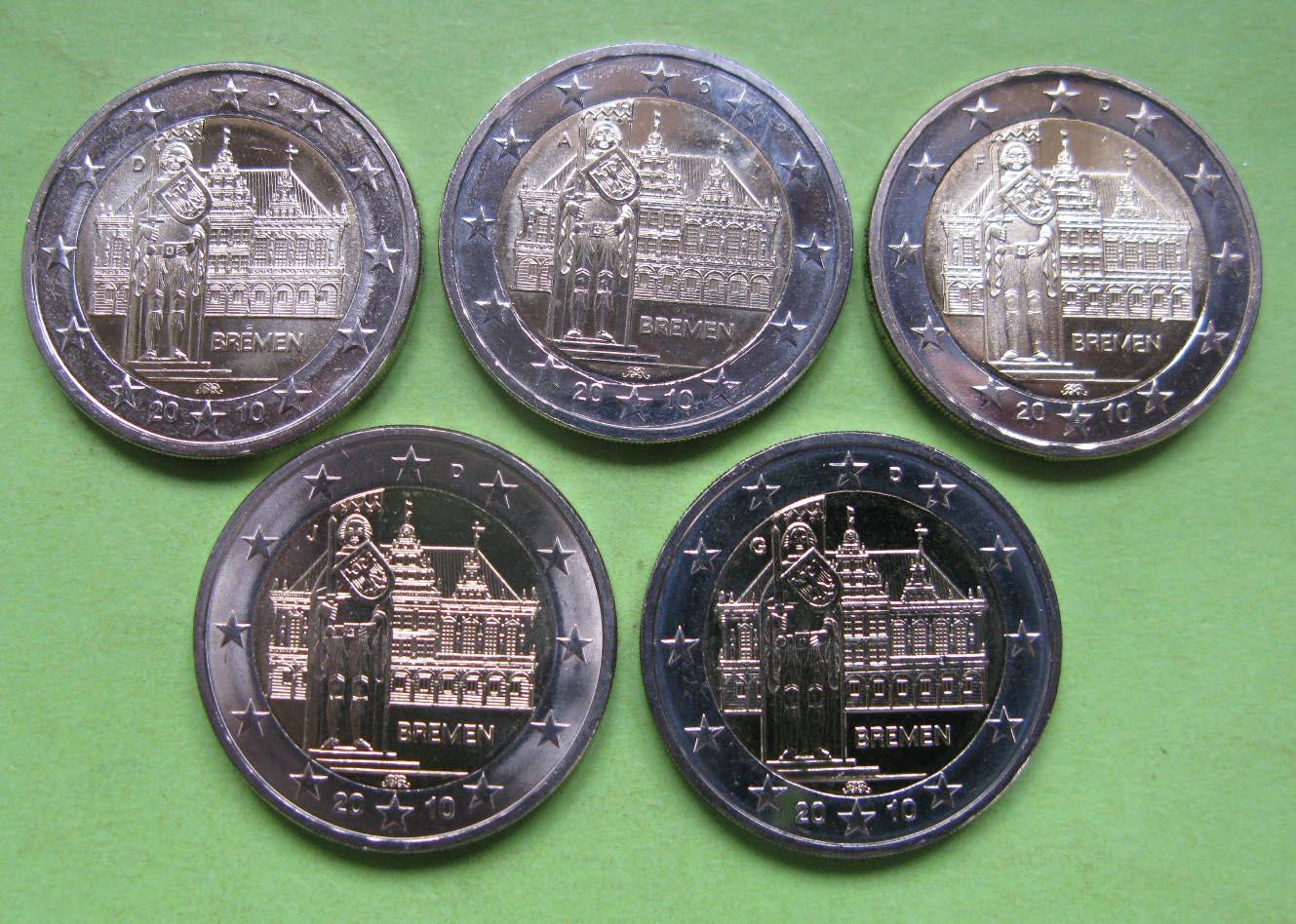 Германия 2 евро 2010 г. Бремен (A,D,F,G,J ) , UNC
