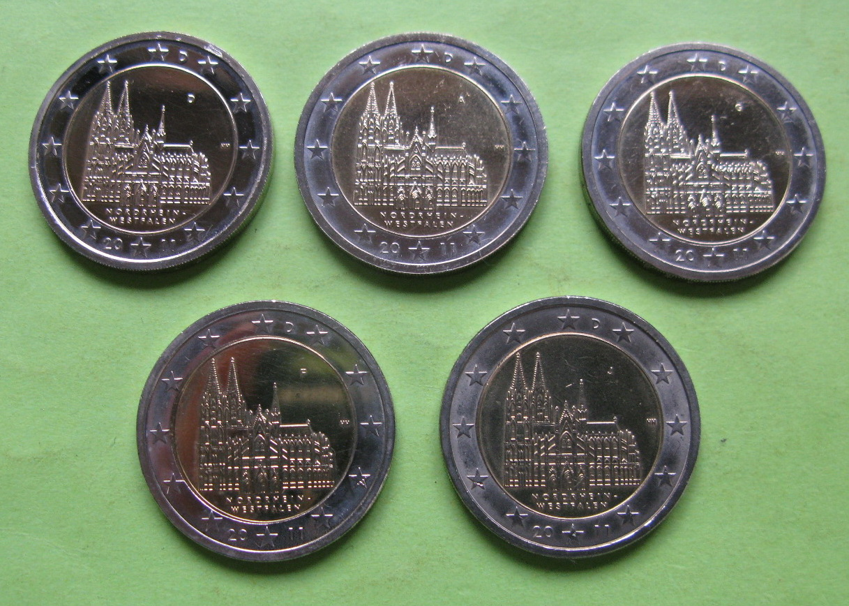 Германия 2 евро 2011 г. Северный Рейн-Вестфалия (A,D,F,G,J ) , UNC