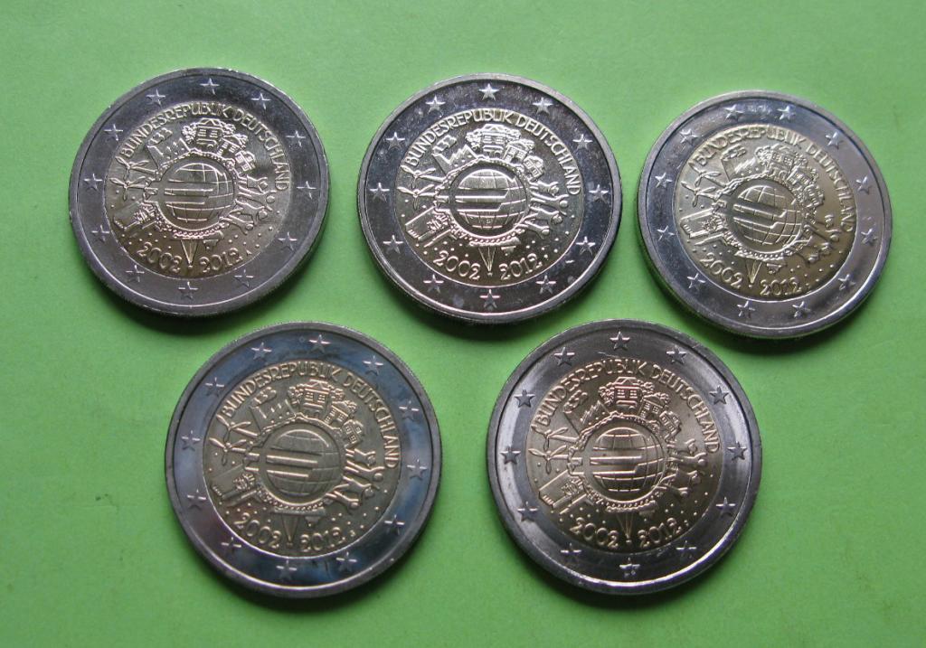 Германия 2 евро 2012 г. 10 лет наличному евро (A,D,F,G,J ) , UNC